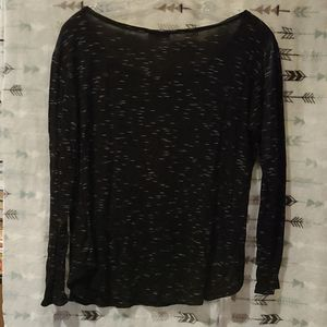 Free Kisses Tops - Spacedyed black and white long sleeve scoopneck XL